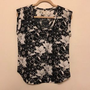 J Crew floral black and white scoop neck top